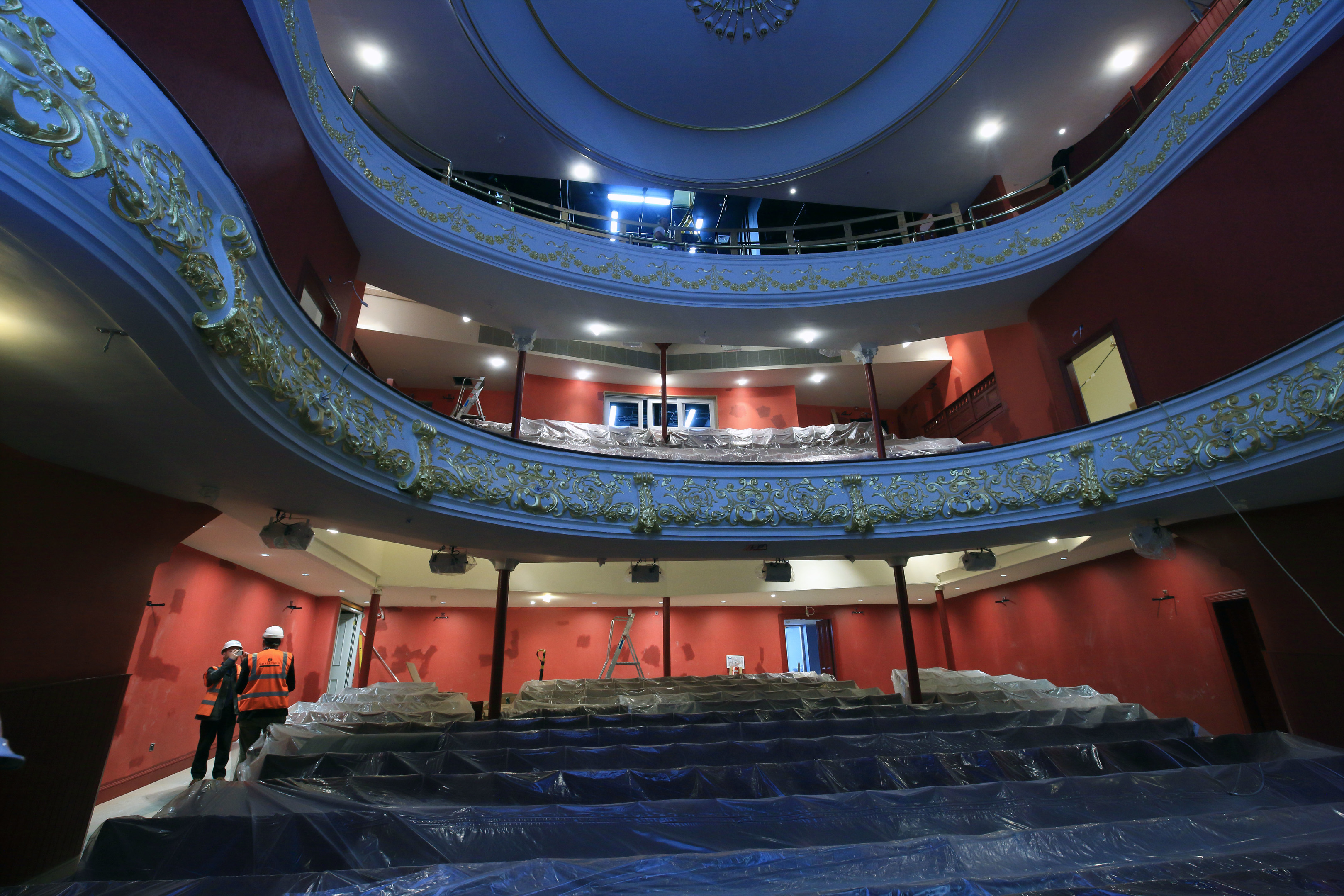 The seats being reinstalled at Perth Theatre.