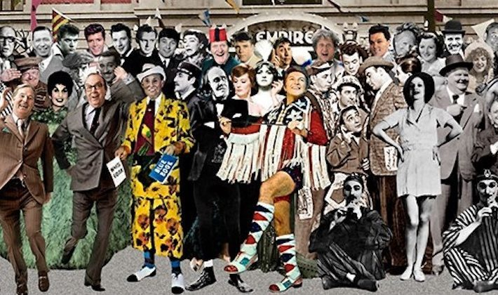 Max Wall (centre front with his arms  folded) between Max Miller and Liberace in a collage by the artist Sir Peter Blake.