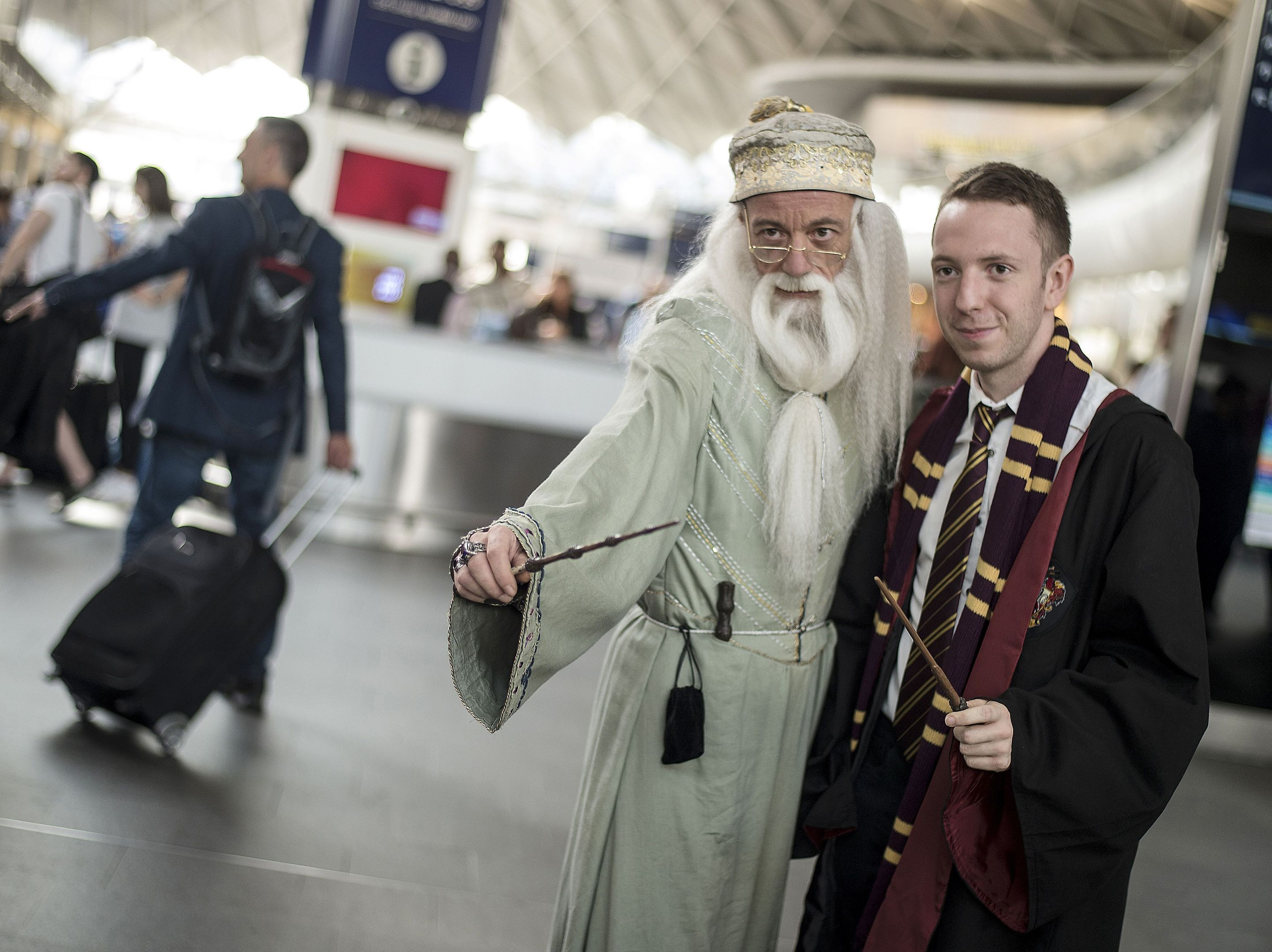 Harry Potter fans at King's Cross Station, London.