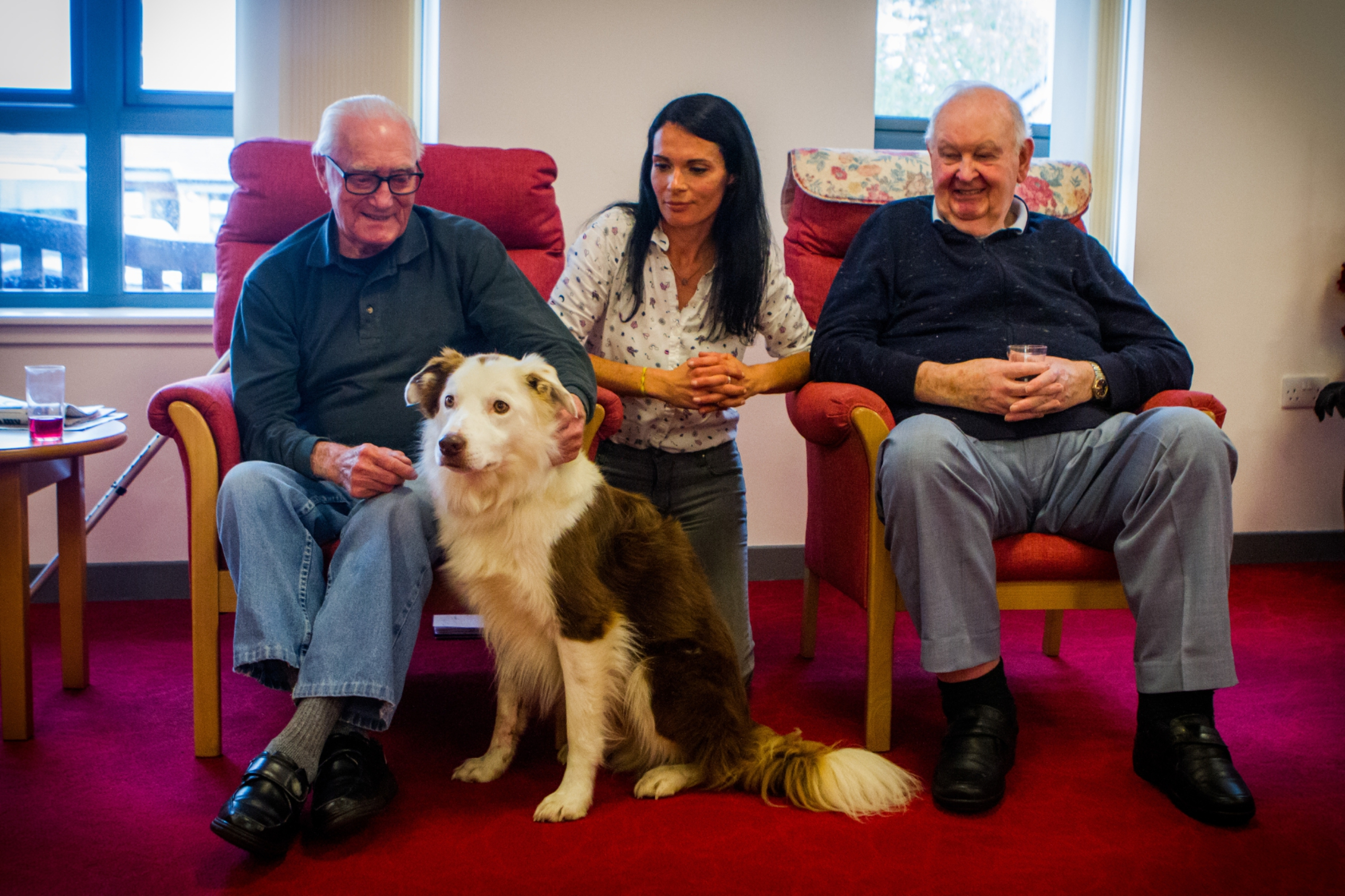 Therapets Cooper and Dora visit Kinloch Care Centre in Carnoustie and meet Bert Symmers, journalist Gayle Ritchie and Bill Braithwaite.