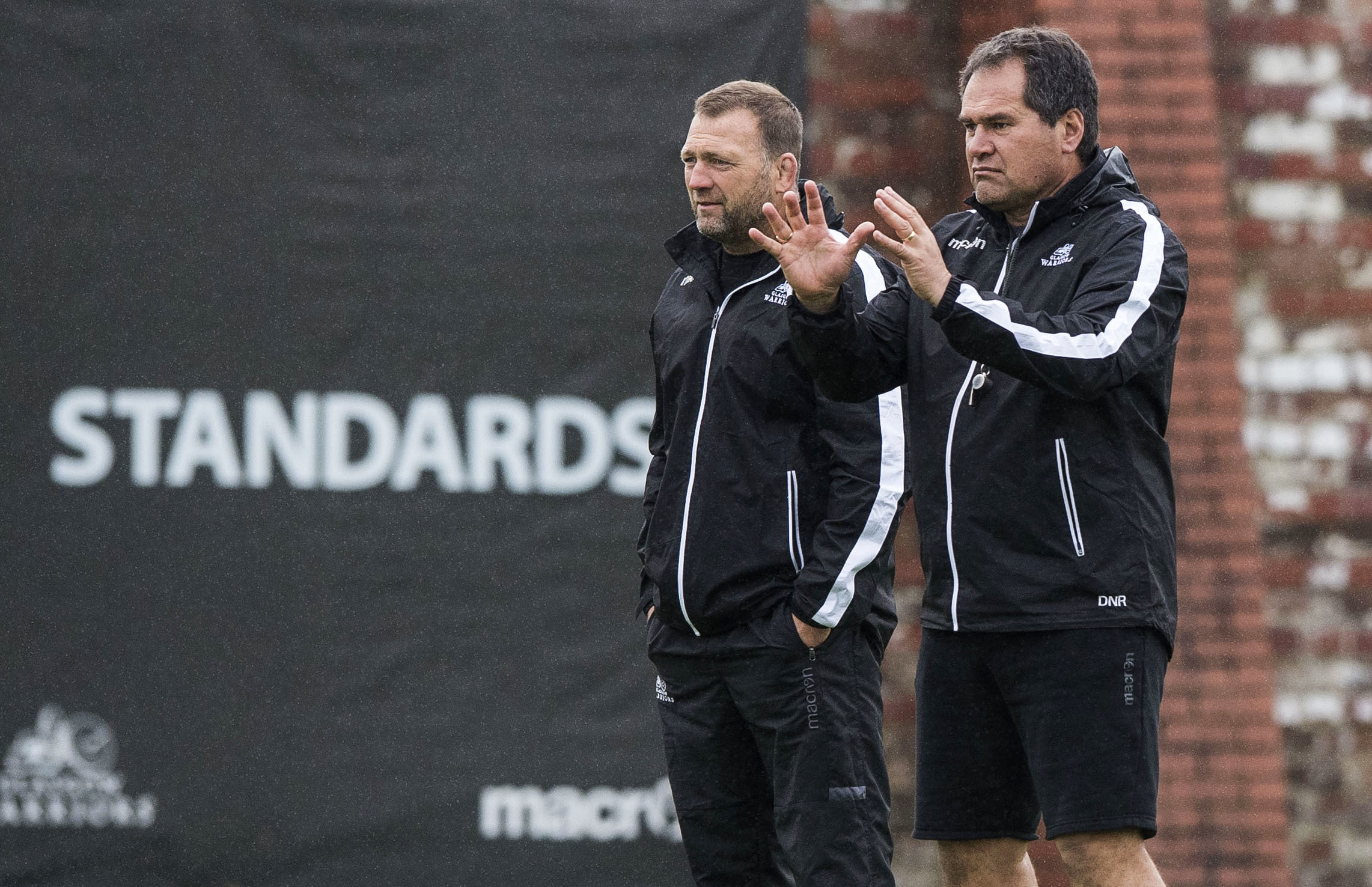 Glasgow Warriors head coach Dave Rennie (right) and coach Jonathan Humphreys make their message clear at training.
