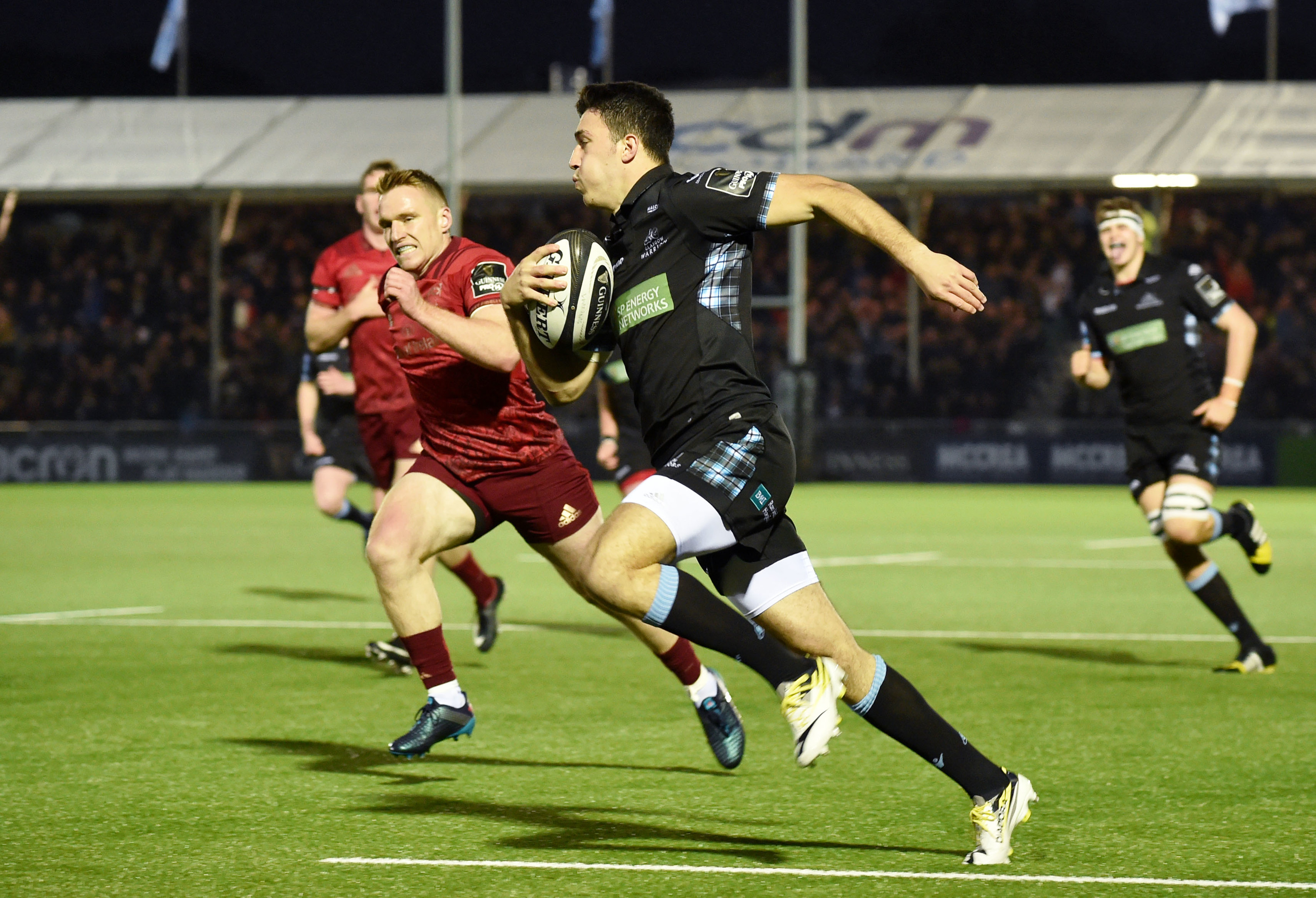 Leo Sarto runs in to score Glasgow's early try against Munster at Scotstoun.
