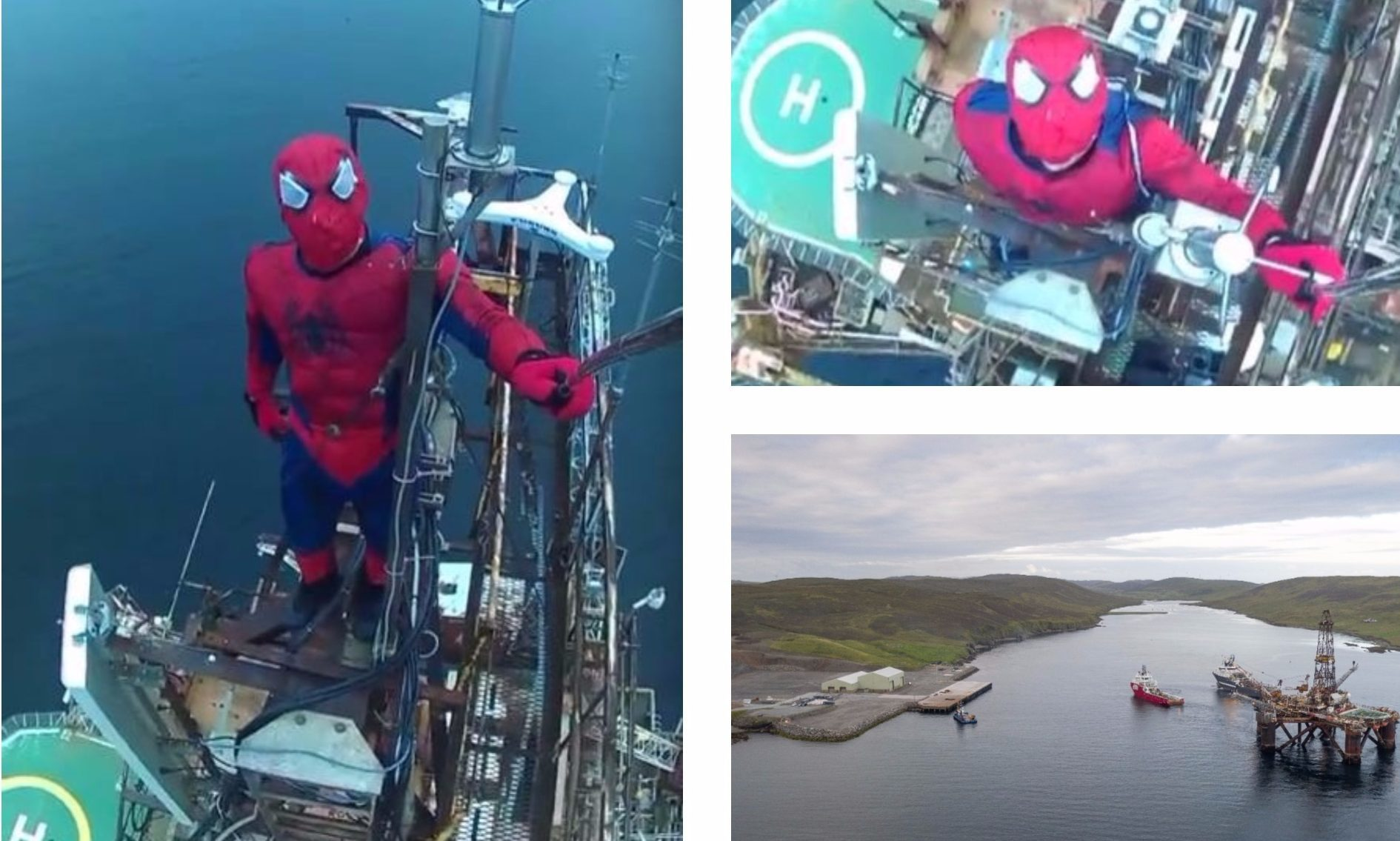 Stills showing the man dressed as Spidey at the top of the Buchan Alpha