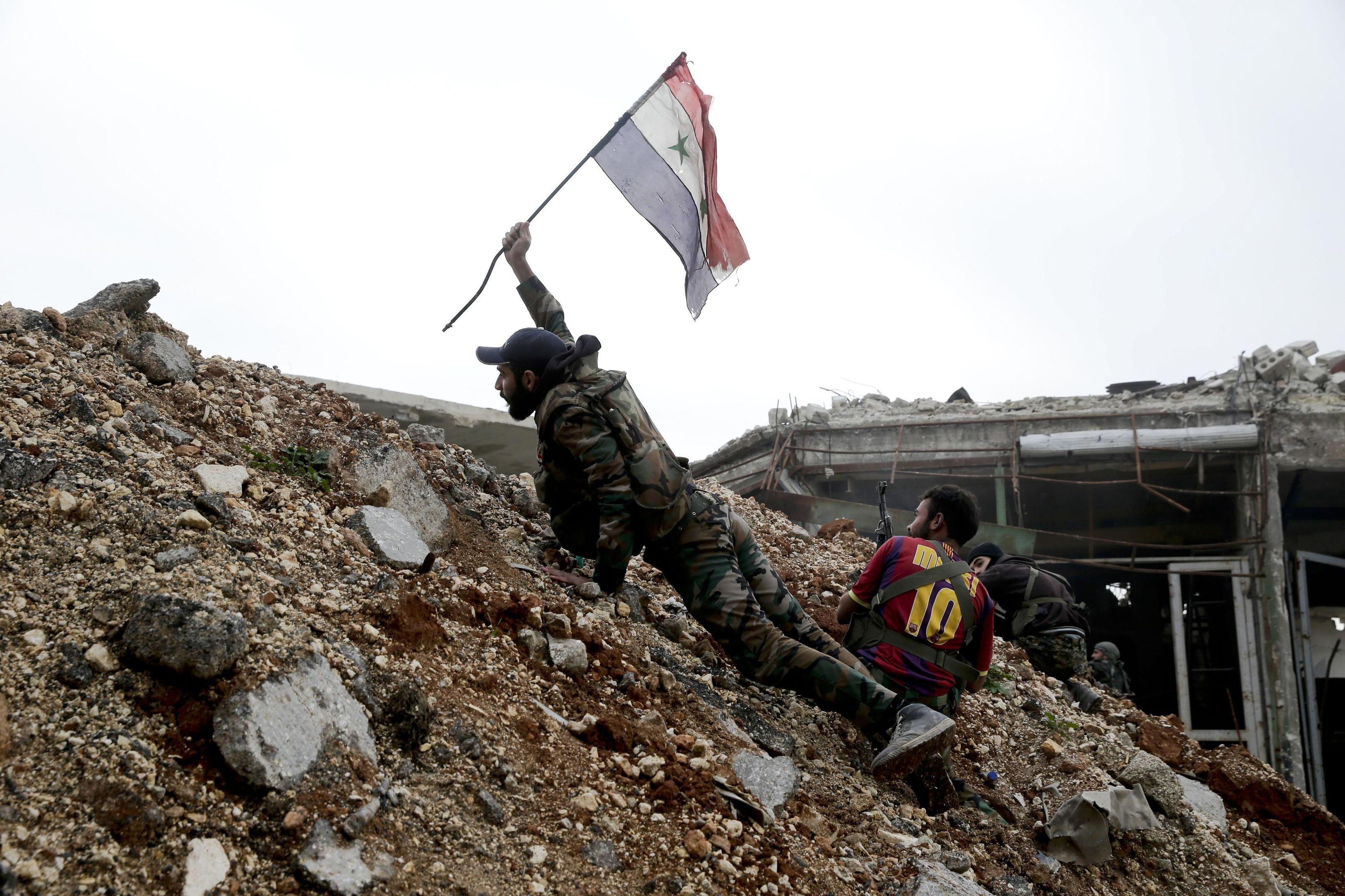 A Syrian army soldier