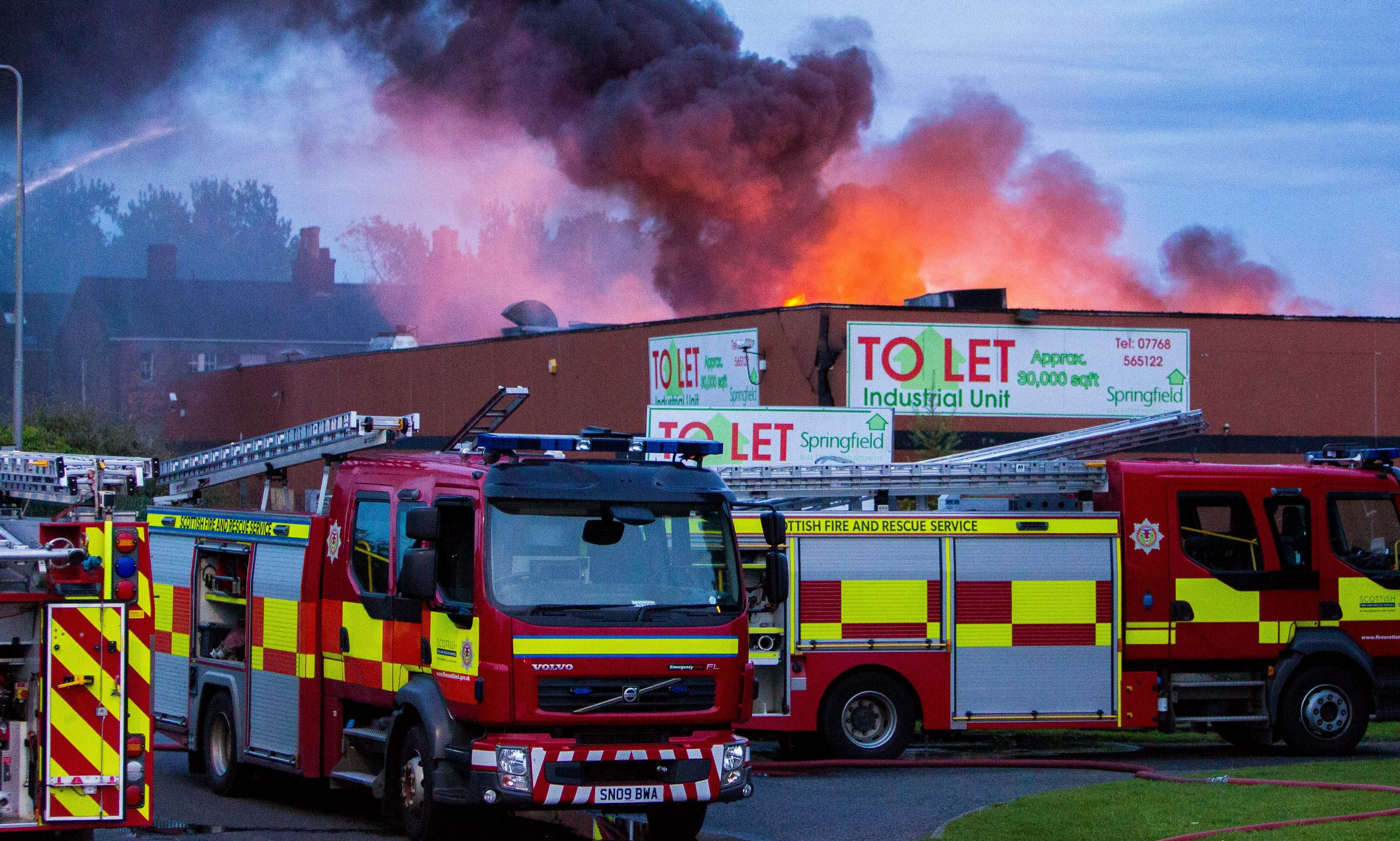 Flames shot out of the roof at the height of the blaze