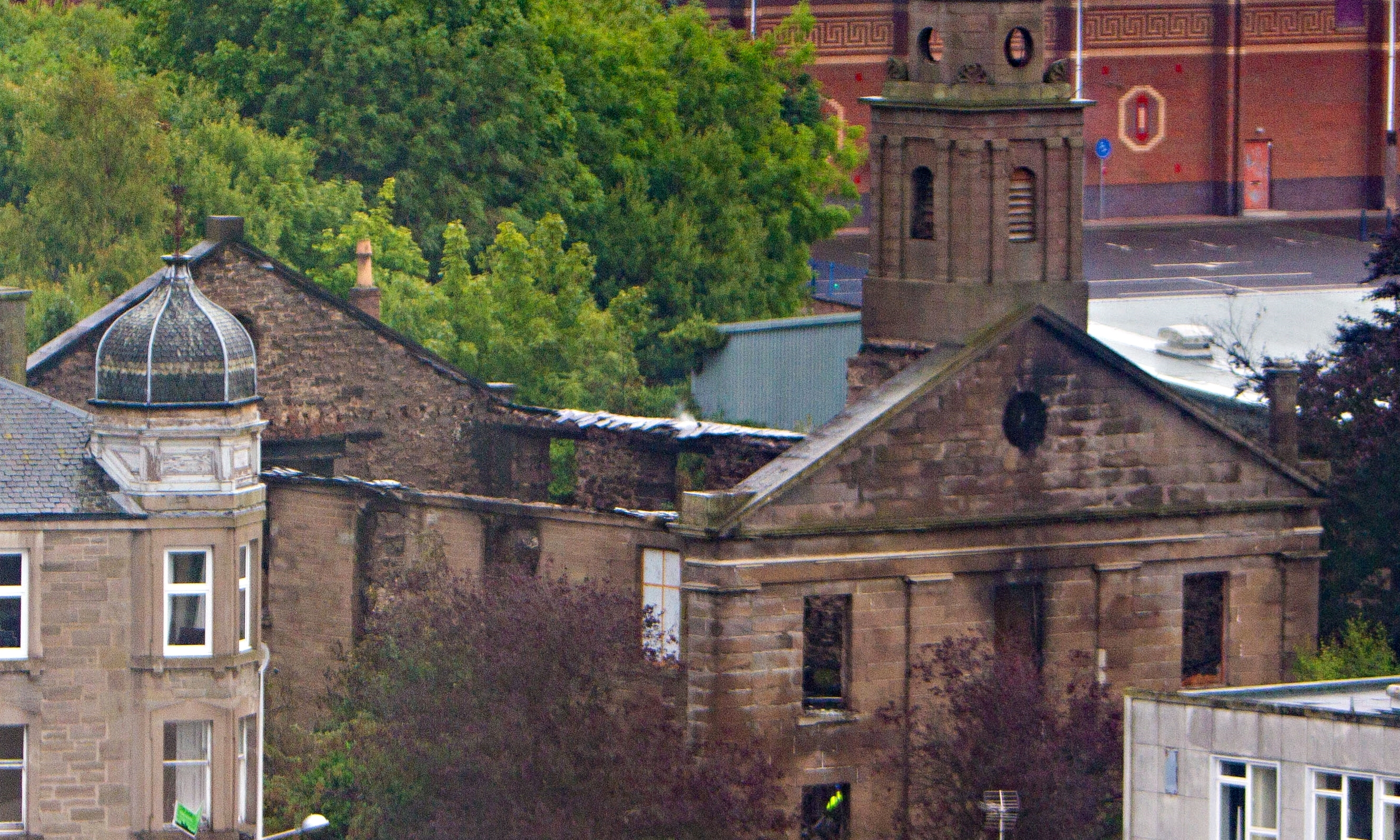 The burnt-out shell of the former Lochee Old Church.