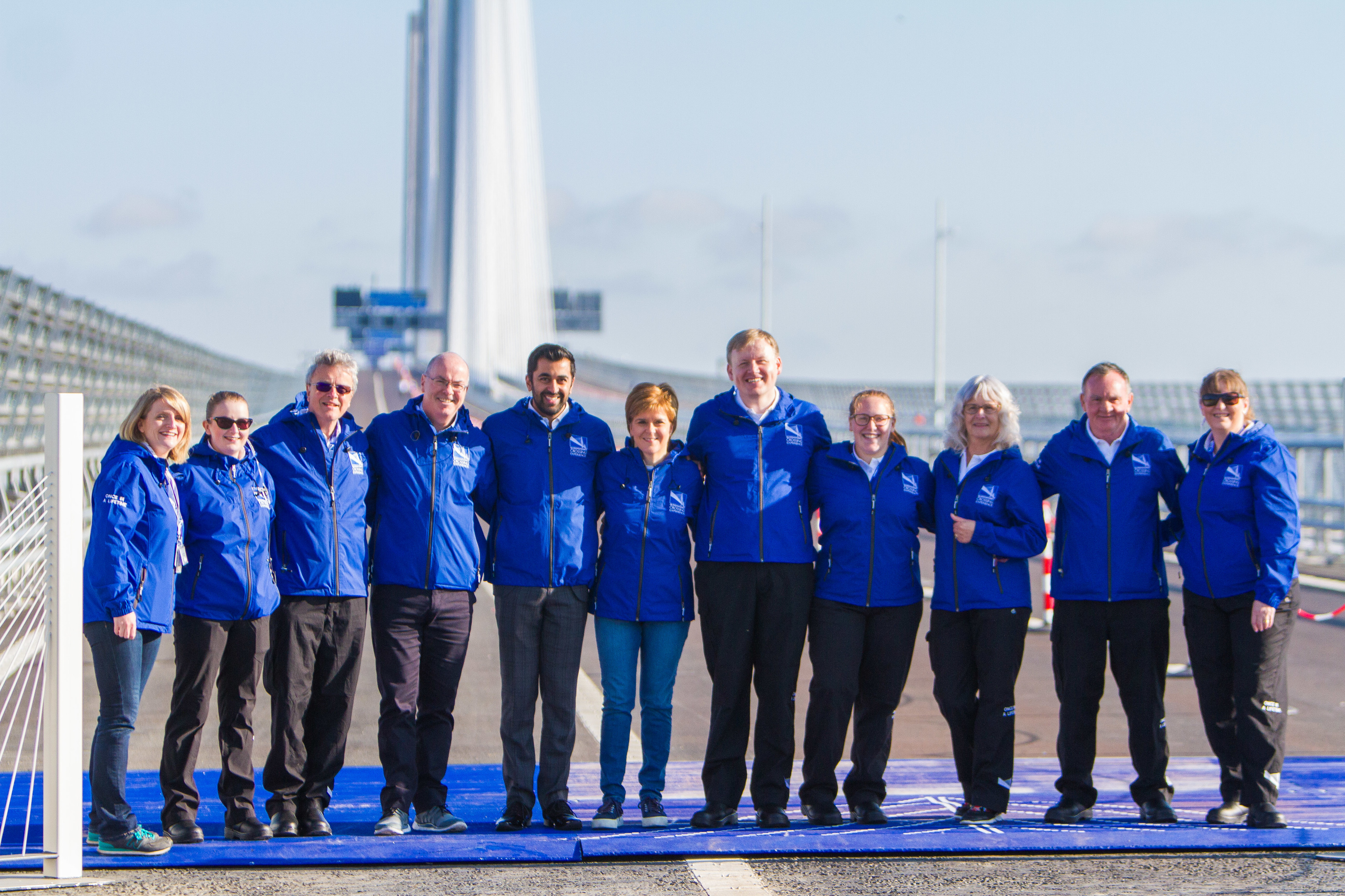 First Minister Nicola Sturgeon and Transport Minister Humza Yousaf were among the first onto the bridge