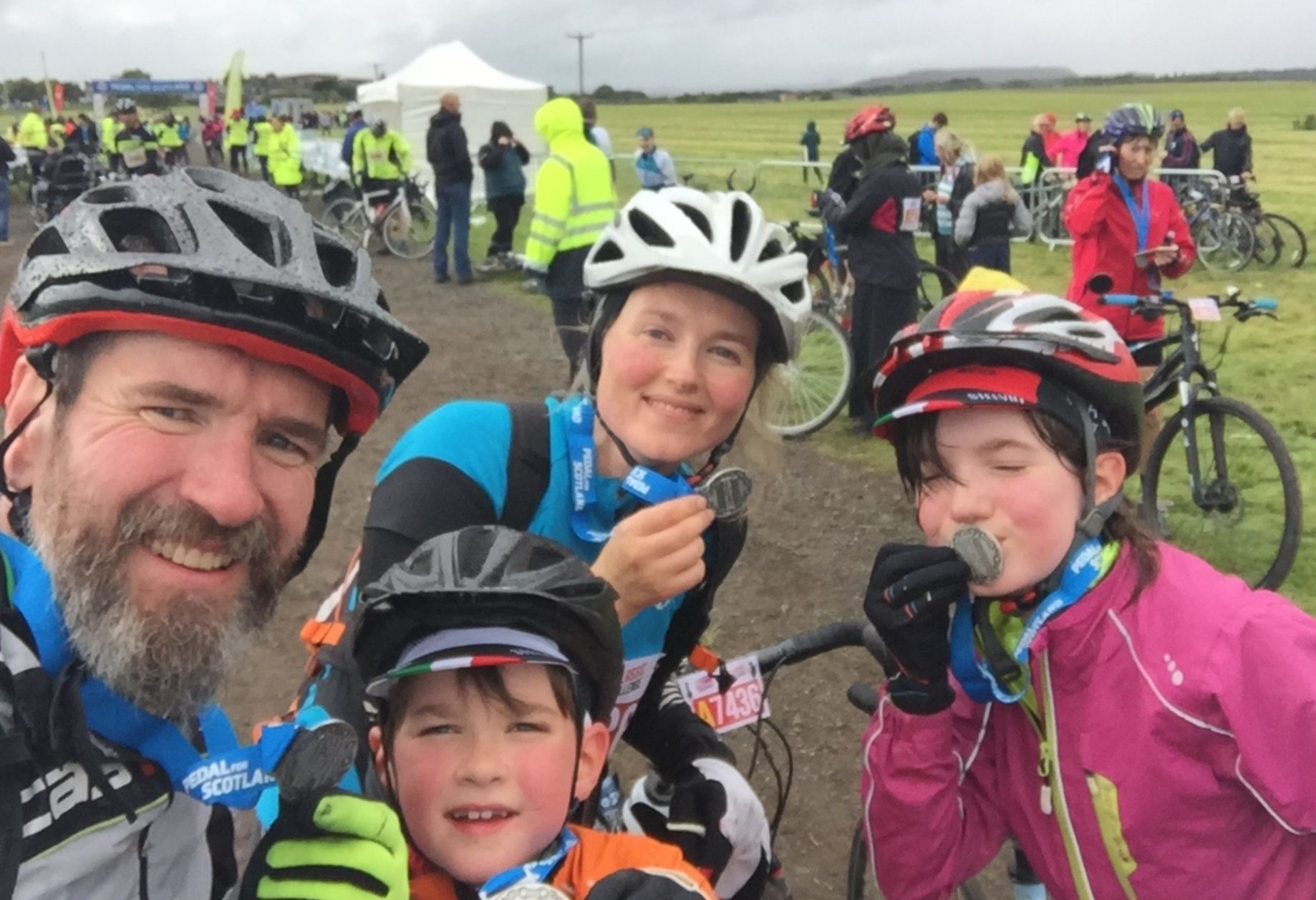 The Tares family take on the cycling challenge.