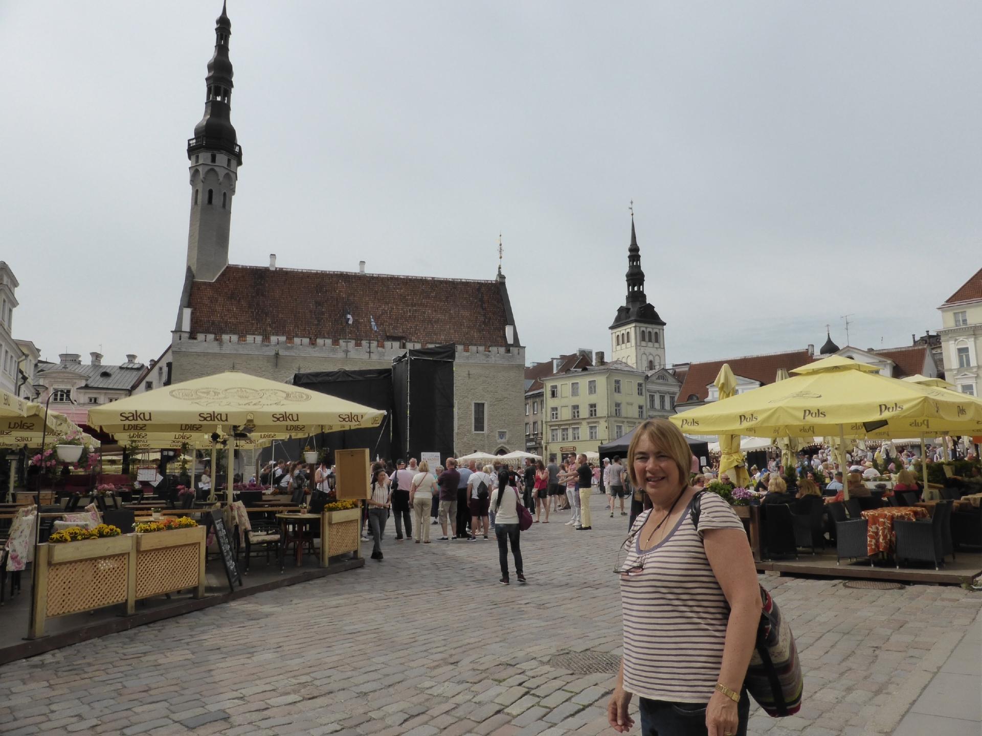 Bridget at the Town Hall Square market in Tallinn.