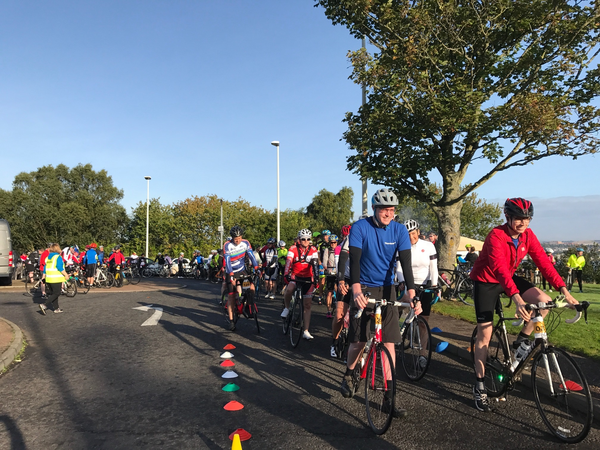 Competitors setting off from the Tay Road Bridge car park on Saturday morning.