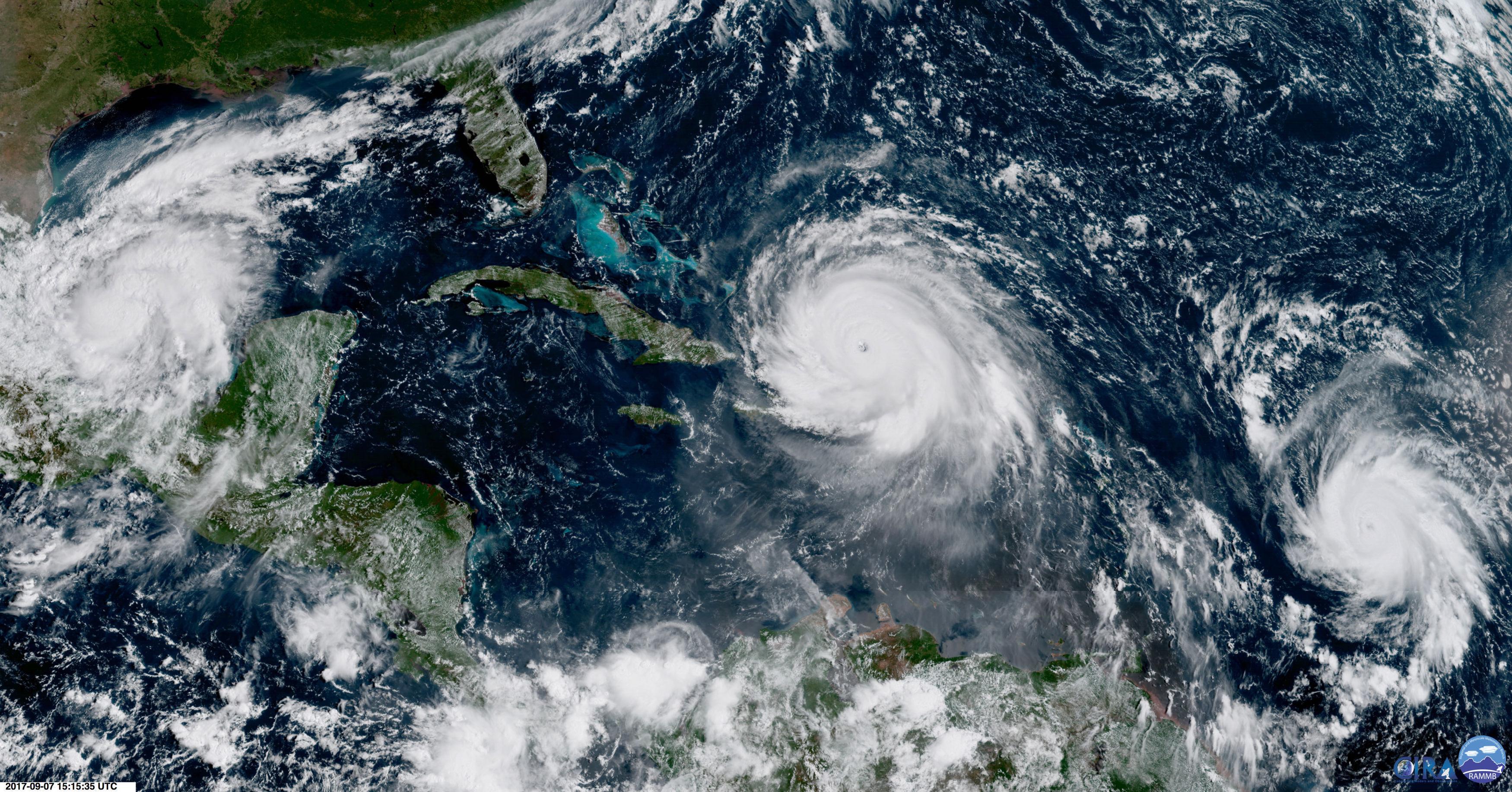 A satellite image of Hurricane Irma.