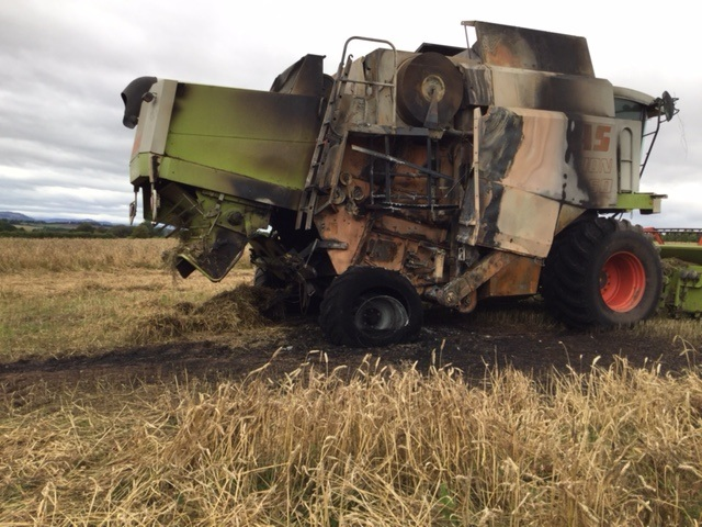 The fire-damaged combine. Picture: Max Bosworth.