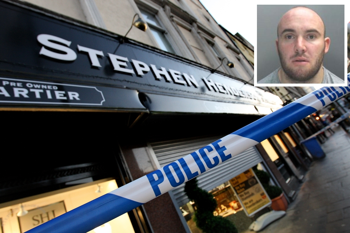 Police tape up outside Stephen Henderson the Jewellers after the raid by Michael Walker (inset) and an accomplice.