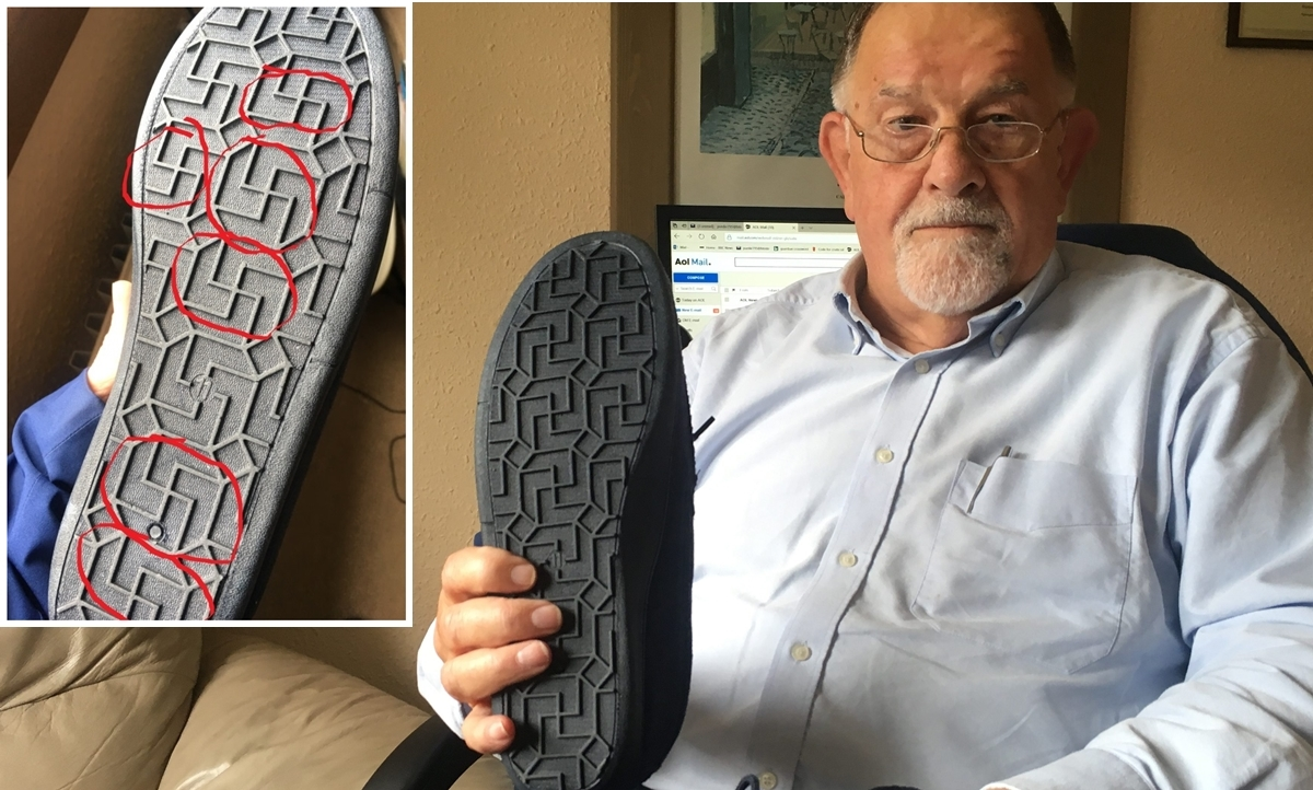 Mr Purdie and the slippers he claimed contain Nazi symbols.