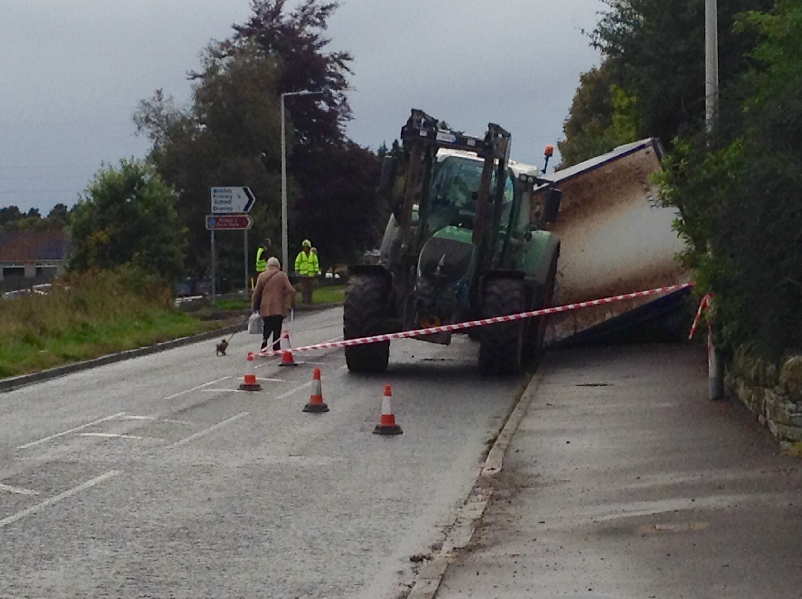 The tractor trailer overturned in Birkhill