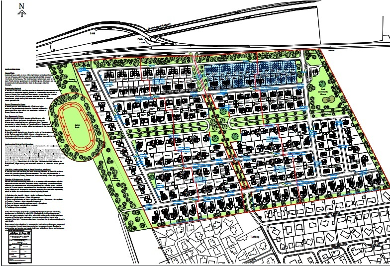 A detailed layout of the new housing development at Turfbeg, bounded to the north by the A926 where the new 40 mph speed restriction will be introduced.