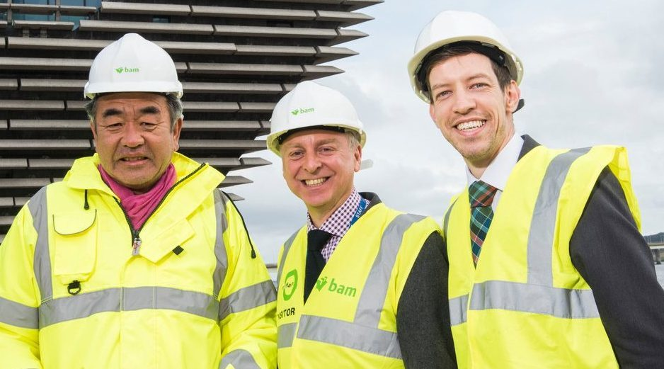 John Alexander, right, with Kengo Kuma, left, and V&A director Philip Long during the site visit on Wednesday.