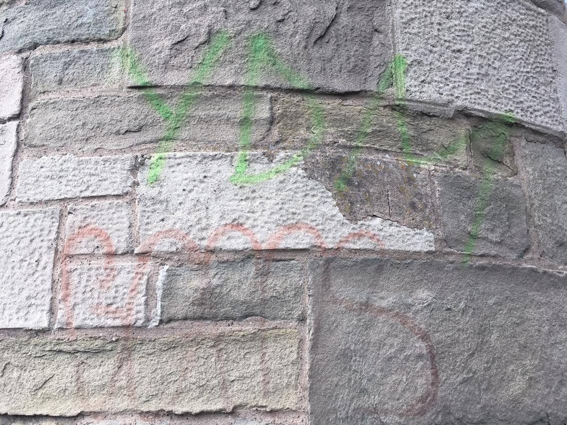 The damaged wall near the Wellgate.