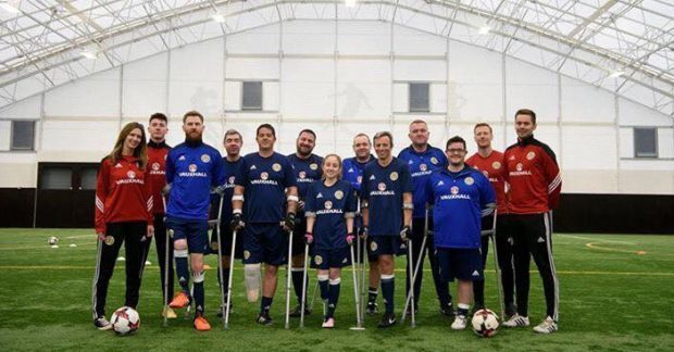 Tommy and his teammates took part in Scotland's first amputee football match.