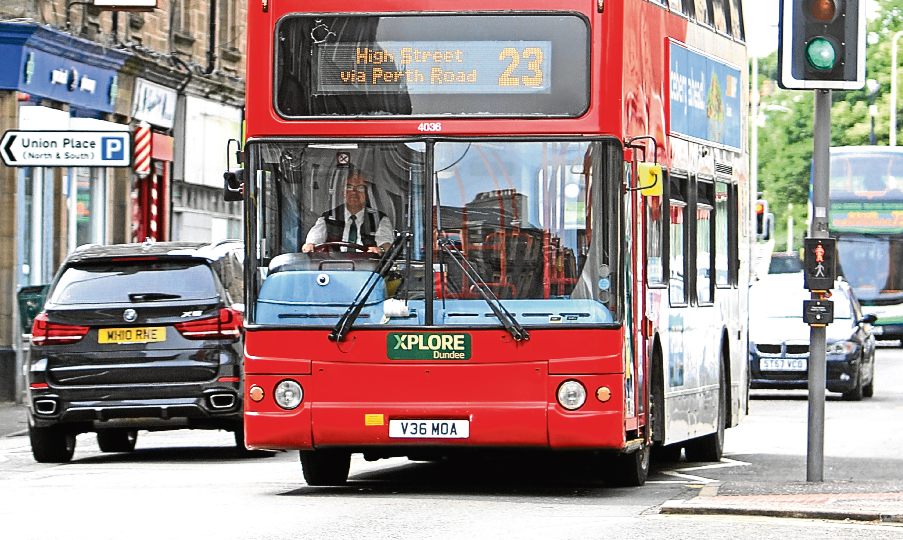 An Xplore Dundee bus on Perth Road, Dundee.