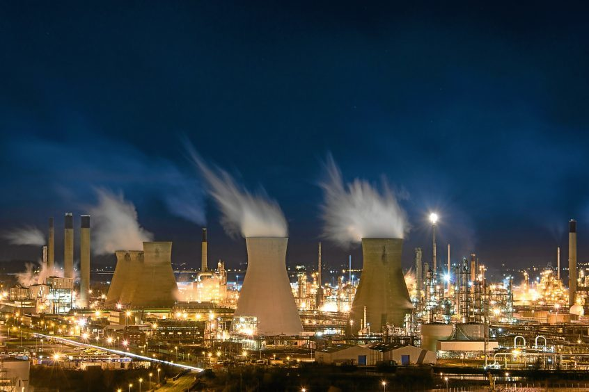Ineos Grangemouth oil and petrochemicals refinery, one of the largest of its kind in Europe.