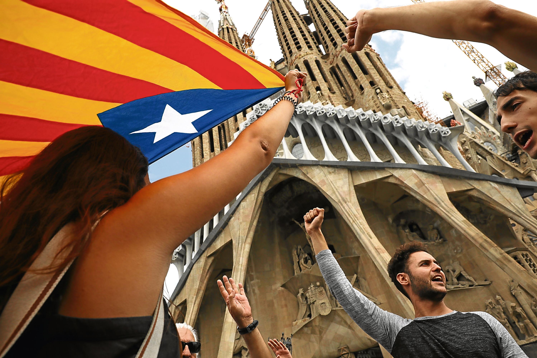 Catalonians celebrating the referendum result in October.