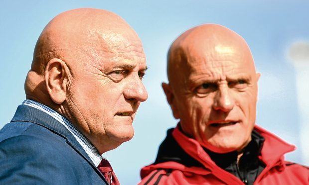 Arbroath boss Dick Campbell, left, with his brother and assistant Ian.