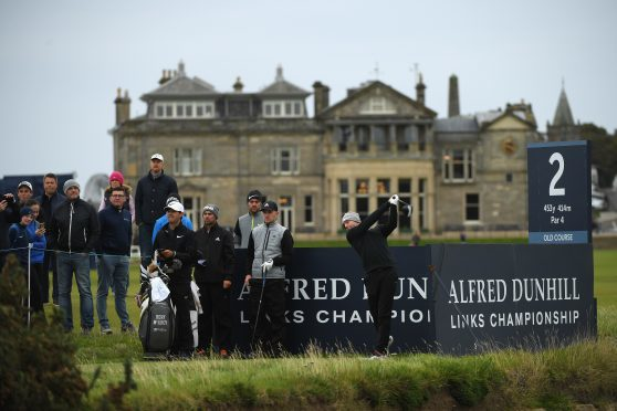 Rory McIlroy tees off on the 2nd during practice prior to the 2017 Alfred Dunhill Links Championship.