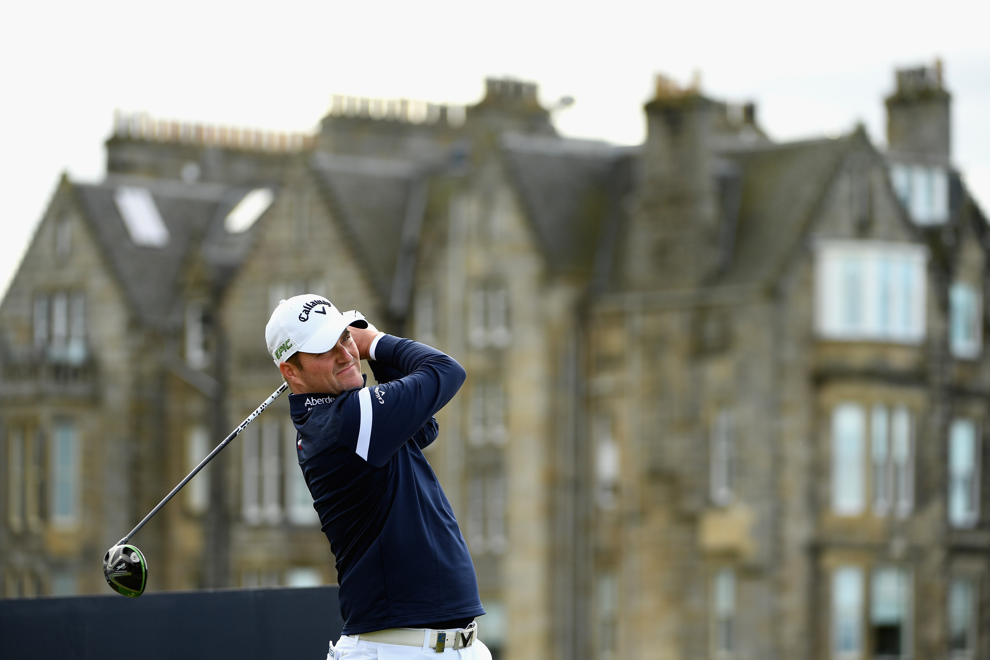 Marc Warren of England tees off on the 2nd during his final round 66 at the Dunhill Links Championship.