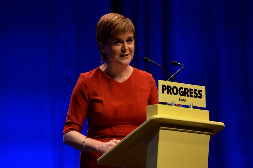 First Minister Nicola Sturgeon addresses delegates as she makes her keynote speech at The SNP Autumn Conference 2017