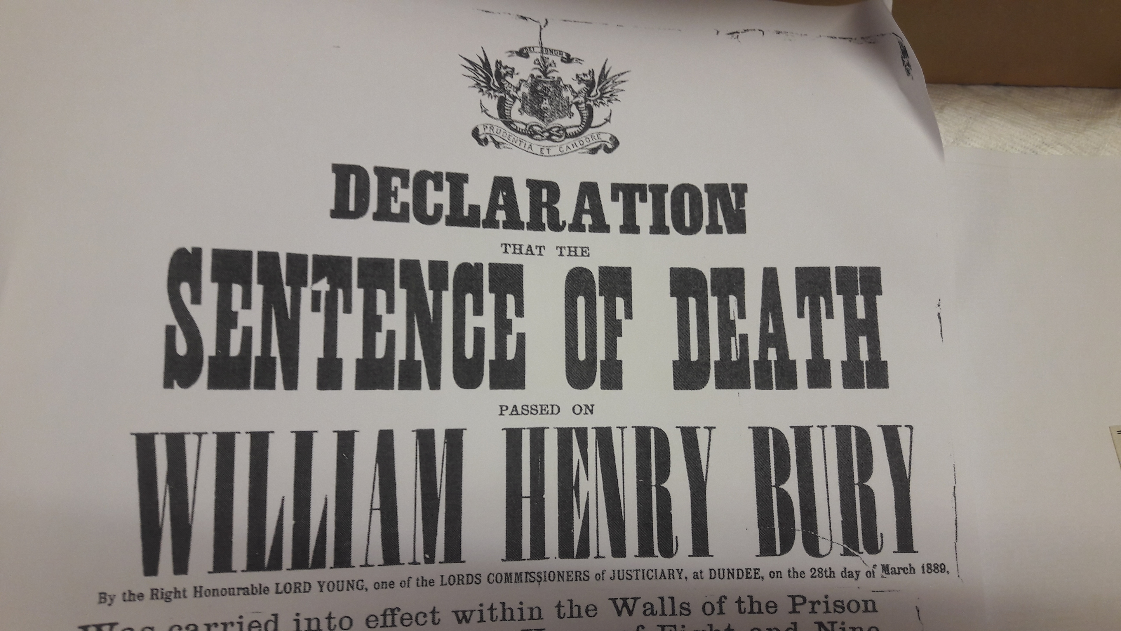 Declaration announcing death sentence on William Bury for murder. But was he Jack the Ripper?