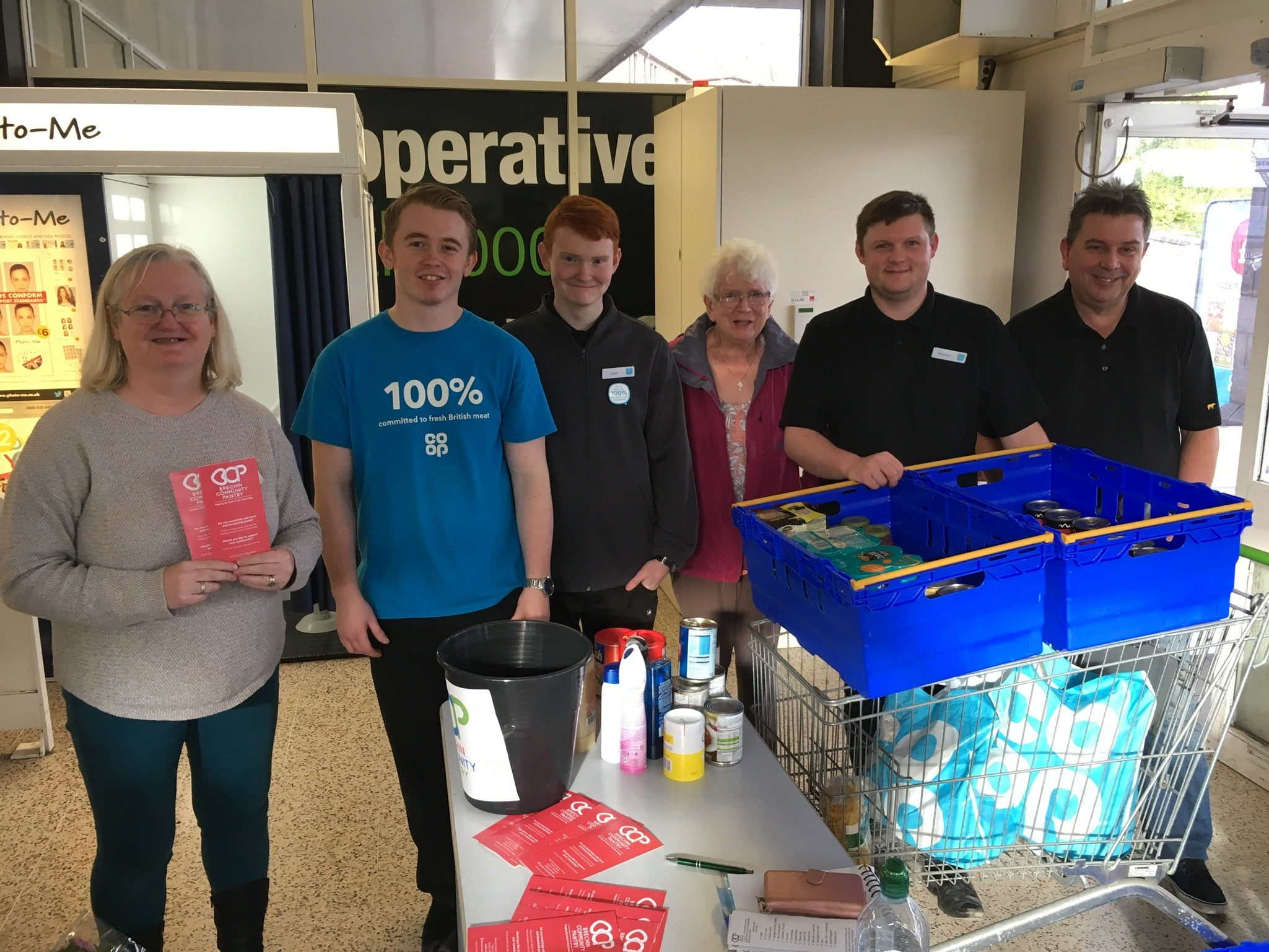 Brechin Community Pantry volunteers and Brechin Co-op staff during a recent food collection
