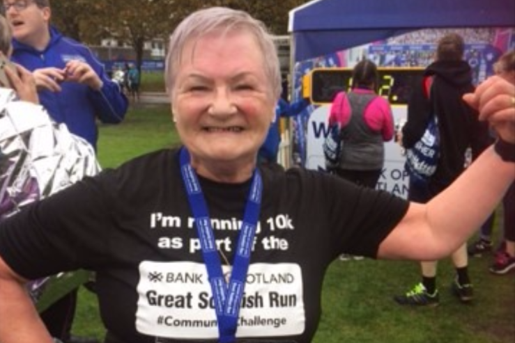 Maureen Murray, 72, represented Dundee as a community champion in the run