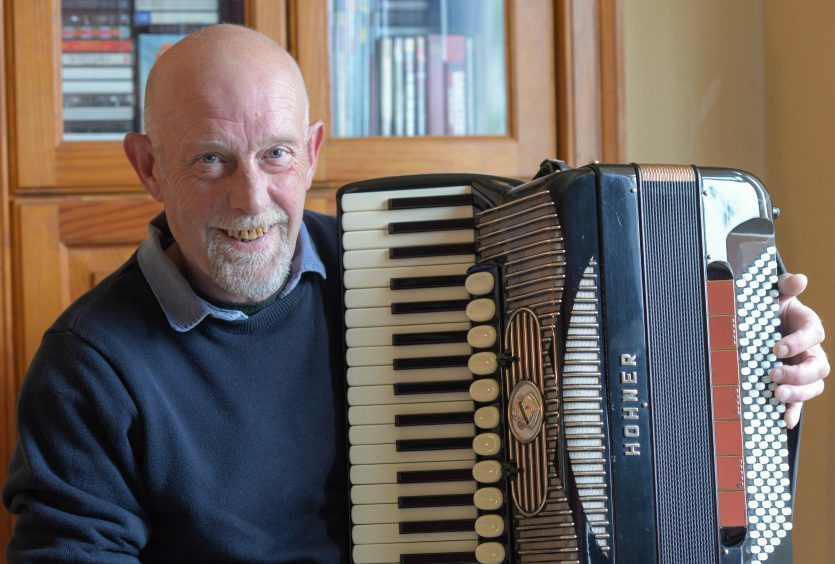 Stevie Crowe, son of accordian great Bobby Crowe, at home in Newport