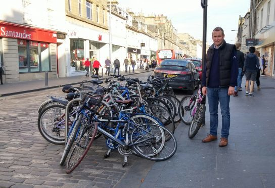 Councillor Brian Thomson alongside existing provision in St Andrews.