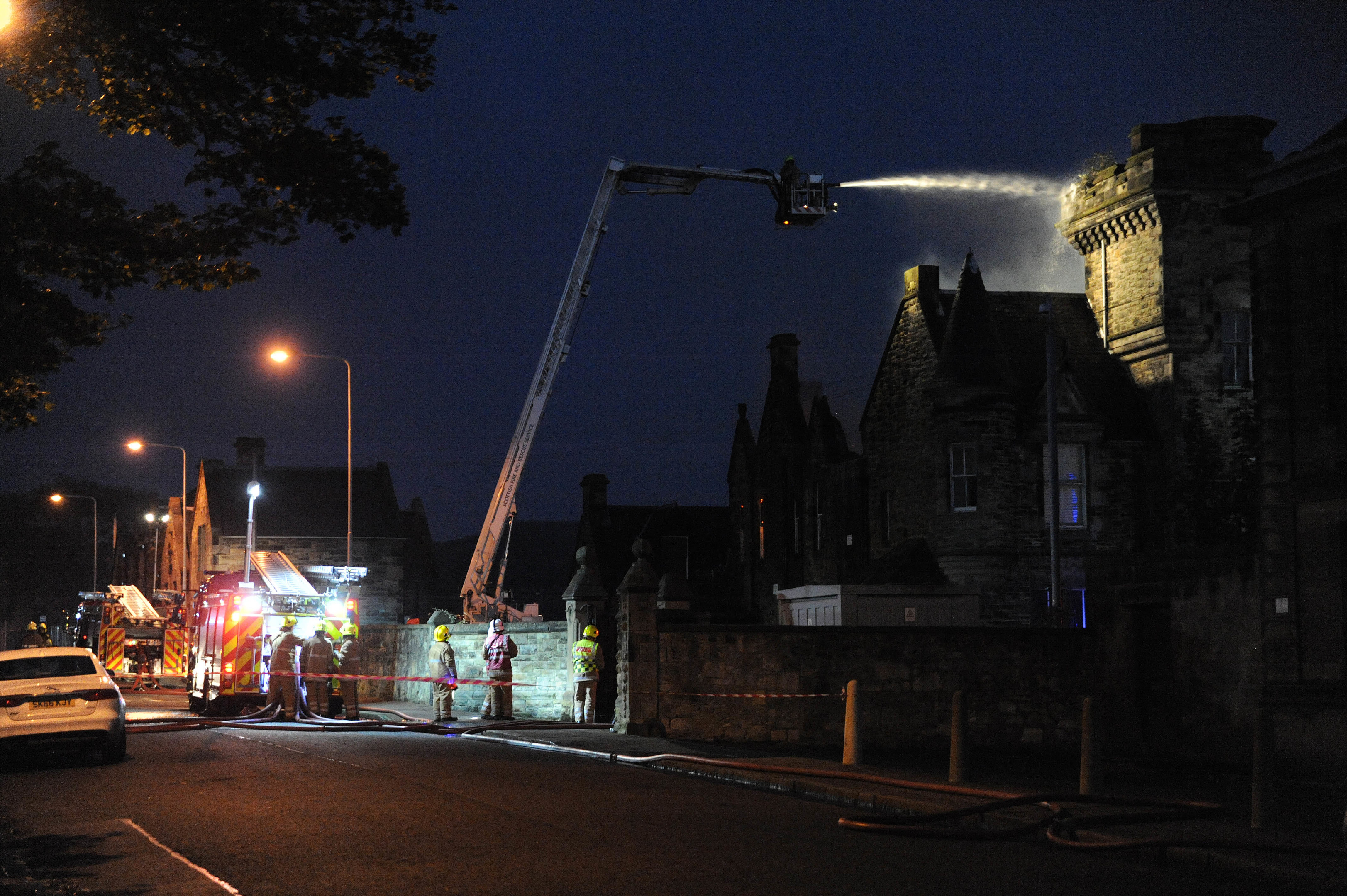 Firefighters at the old Viewforth High School in Kirkcaldy.