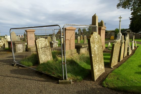 The gravestones are located in the grounds of Inverkeilor Church