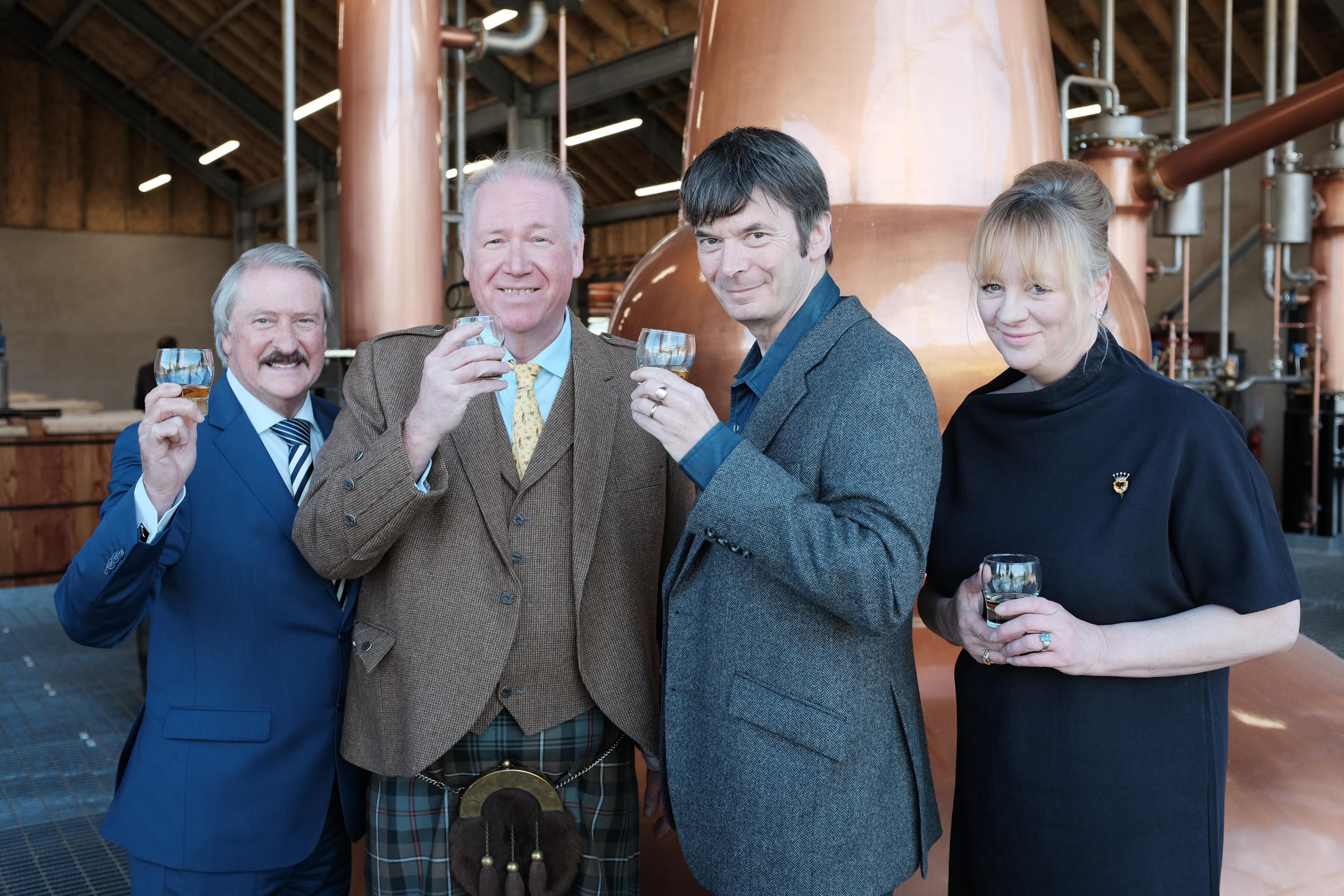 Master distiller Richard Paterson, distillery founder Drew Mackenzie Smith, Ian Rankin and founder Helen Mackenzie Smith.