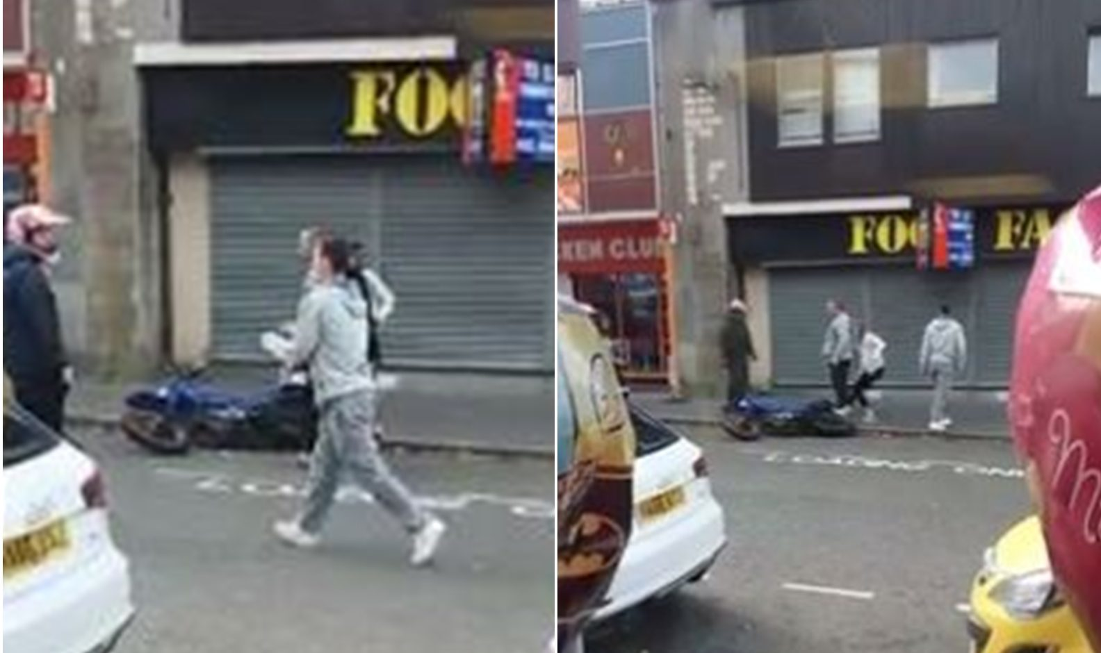 Clips from the incident on Lochee High Street, taken from social media.