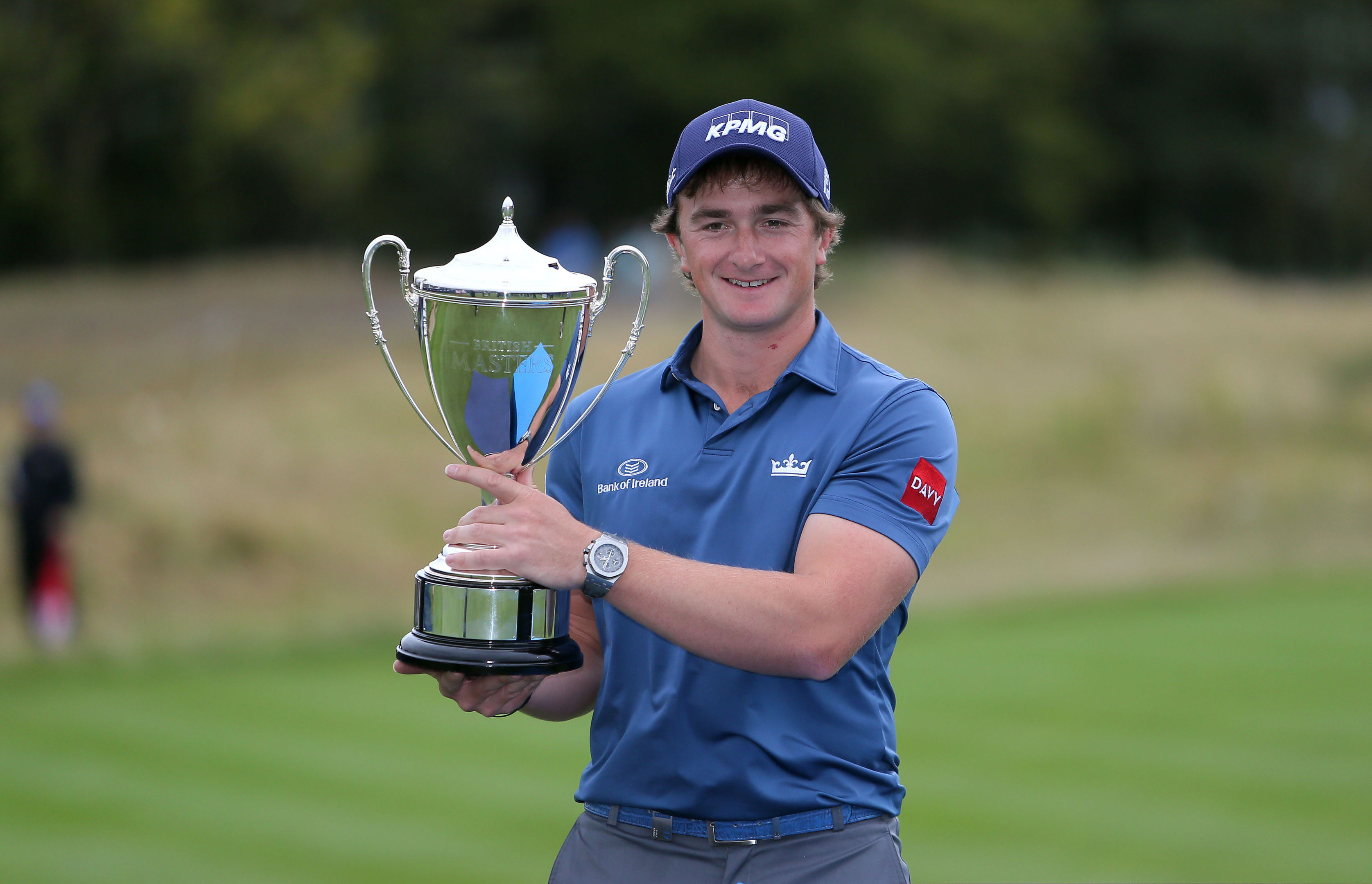 Ireland's Paul Dunne celebrates with the trophy after winning the British Masters at Close House Golf Club, Newcastle.