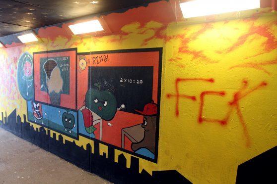 The underpass has been vandalised.