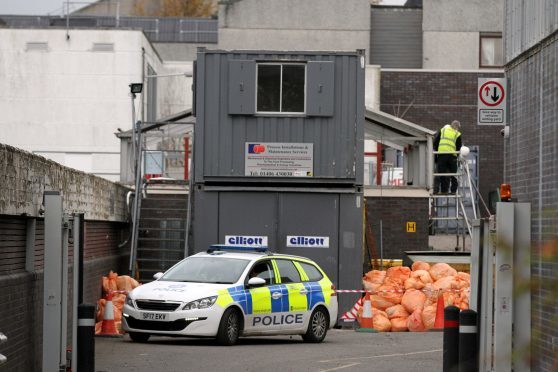 Police on the scene at Ninewells as rubbish is searched