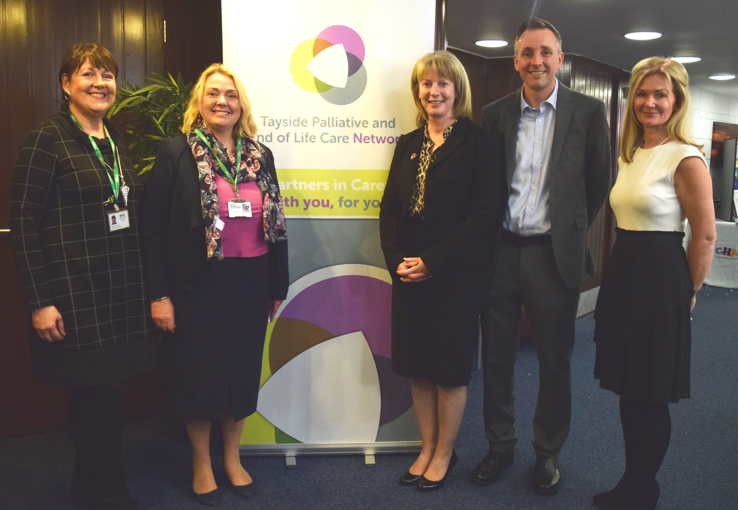 (Left to right) Joint clinical lead Dr Susan Whyte, Janice Preston, Shona Robison, joint clinical lead Deans Buchanan and Lesley McClay, chief executive of NHS Tayside