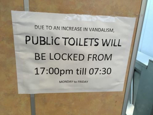 The sign on the toilets at Seagate bus station.