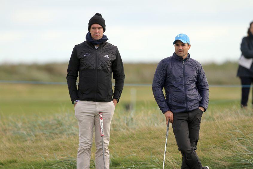 Cricketer Kevin Pietersen and Allan Stanton.