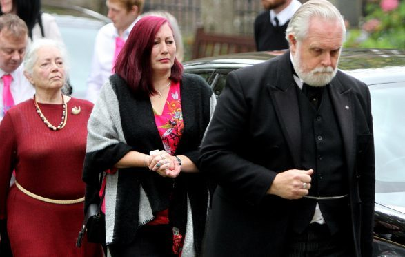 Libbi's family arriving at Brechin Cathedral.
