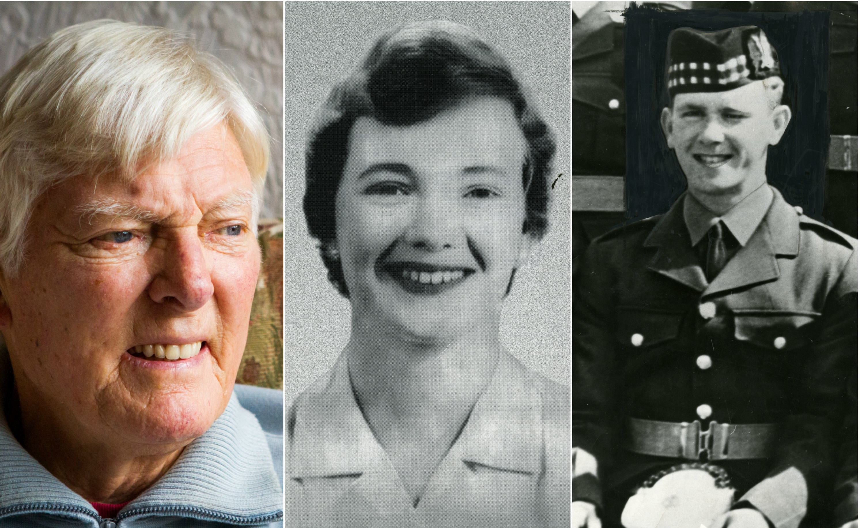 L-R: Former police inspector Jim Melville, Nanette Hanson and young Robert Mone.