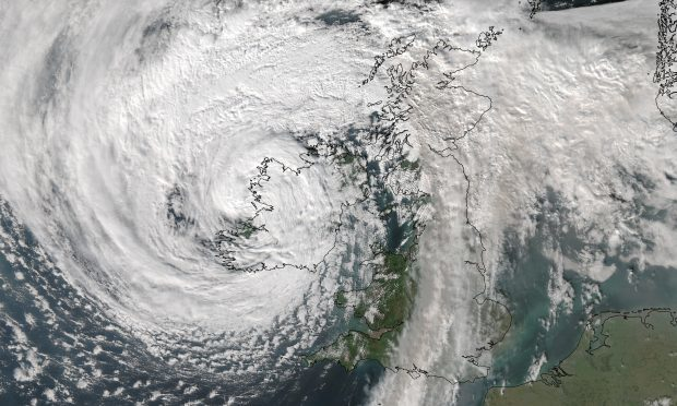 A satellite image of Storm Ophelia. Credit: University of Dundee/'NEODAAS.