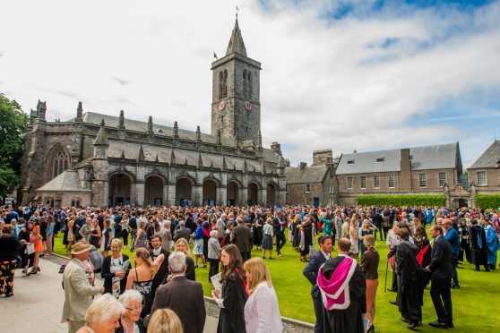 A summer graduation at St Andrews University.