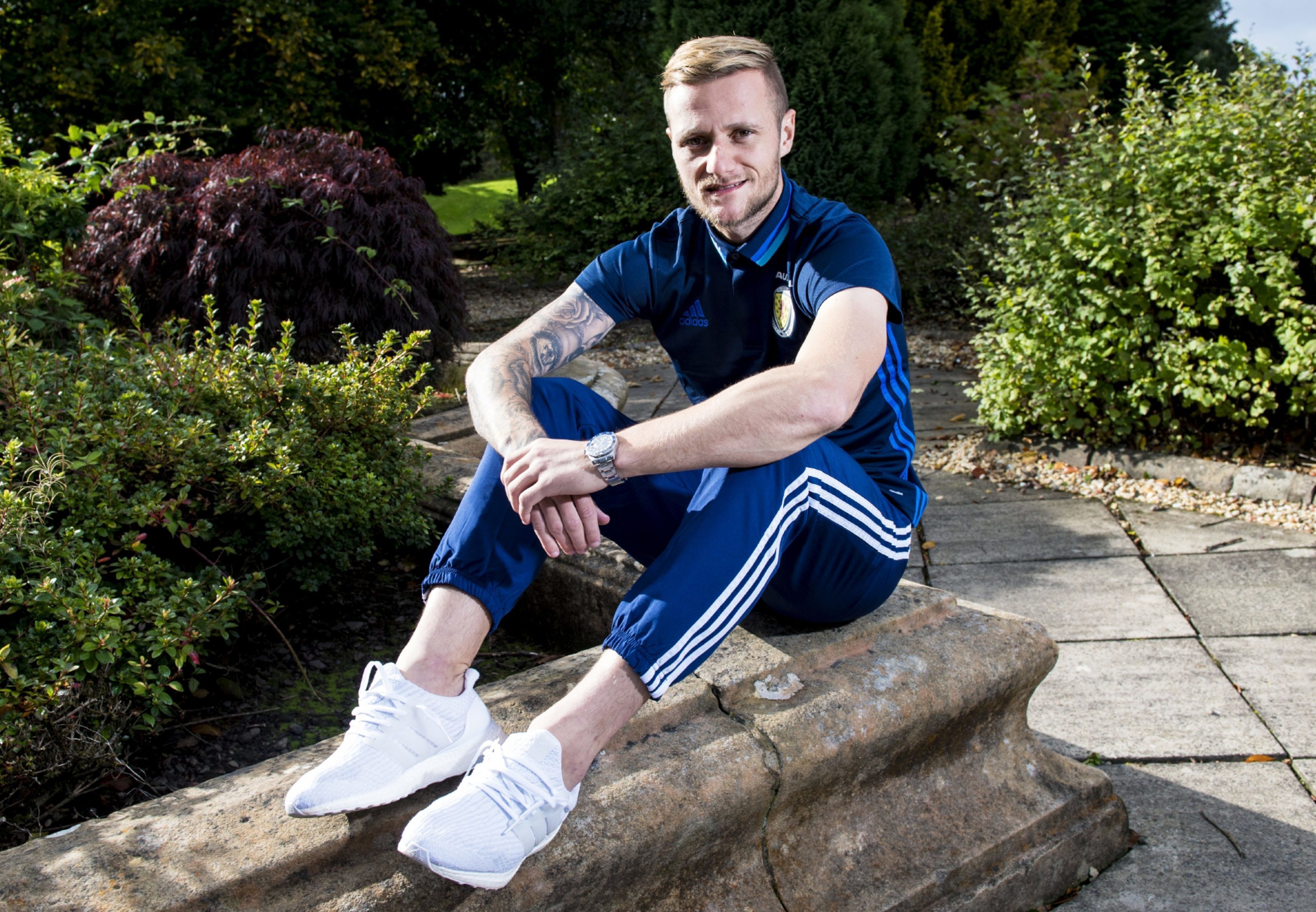 Liam Cooper relaxes at the training base at Mar Hall.